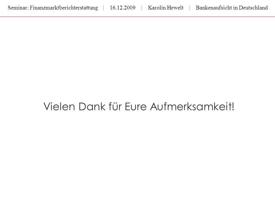 Seminar: Finanzmarktberichterstattung | 16.12.2009 | Karolin Hewelt | Bankenaufsicht in Deutschland Vielen Dank für Eure Aufmerksamkeit!