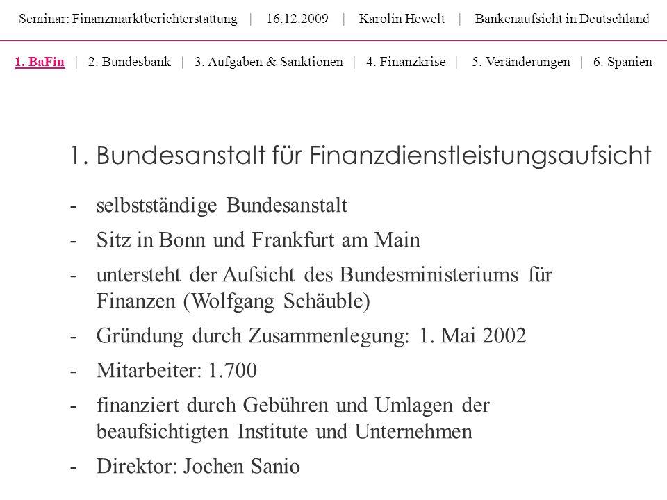 Seminar: Finanzmarktberichterstattung | 16.12.2009 | Karolin Hewelt | Bankenaufsicht in Deutschland -selbstständige Bundesanstalt -Sitz in Bonn und Fr