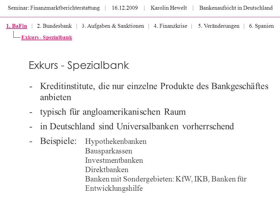 Seminar: Finanzmarktberichterstattung | 16.12.2009 | Karolin Hewelt | Bankenaufsicht in Deutschland -Kreditinstitute, die nur einzelne Produkte des Ba