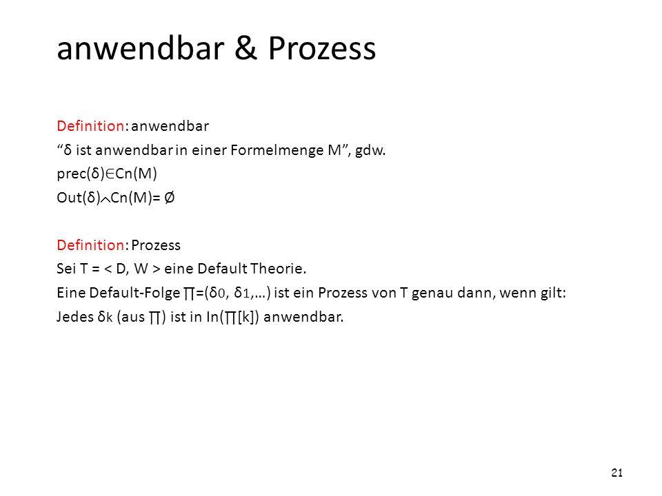 anwendbar & Prozess Definition: anwendbar δ ist anwendbar in einer Formelmenge M, gdw. prec(δ) Cn(M) Out(δ) Cn(M)= Ø Definition: Prozess Sei T = eine