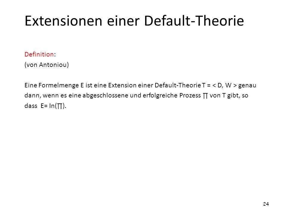 Extensionen einer Default-Theorie Definition: (von Antoniou) Eine Formelmenge E ist eine Extension einer Default-Theorie T = genau dann, wenn es eine