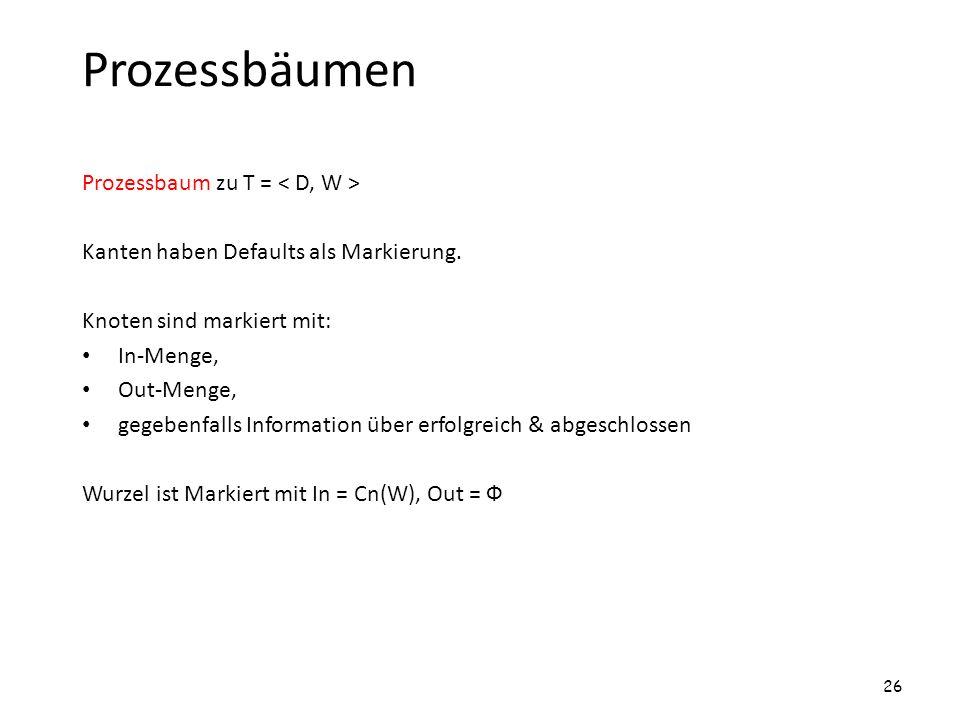 Prozessbäumen Prozessbaum zu T = Kanten haben Defaults als Markierung. Knoten sind markiert mit: In-Menge, Out-Menge, gegebenfalls Information über er