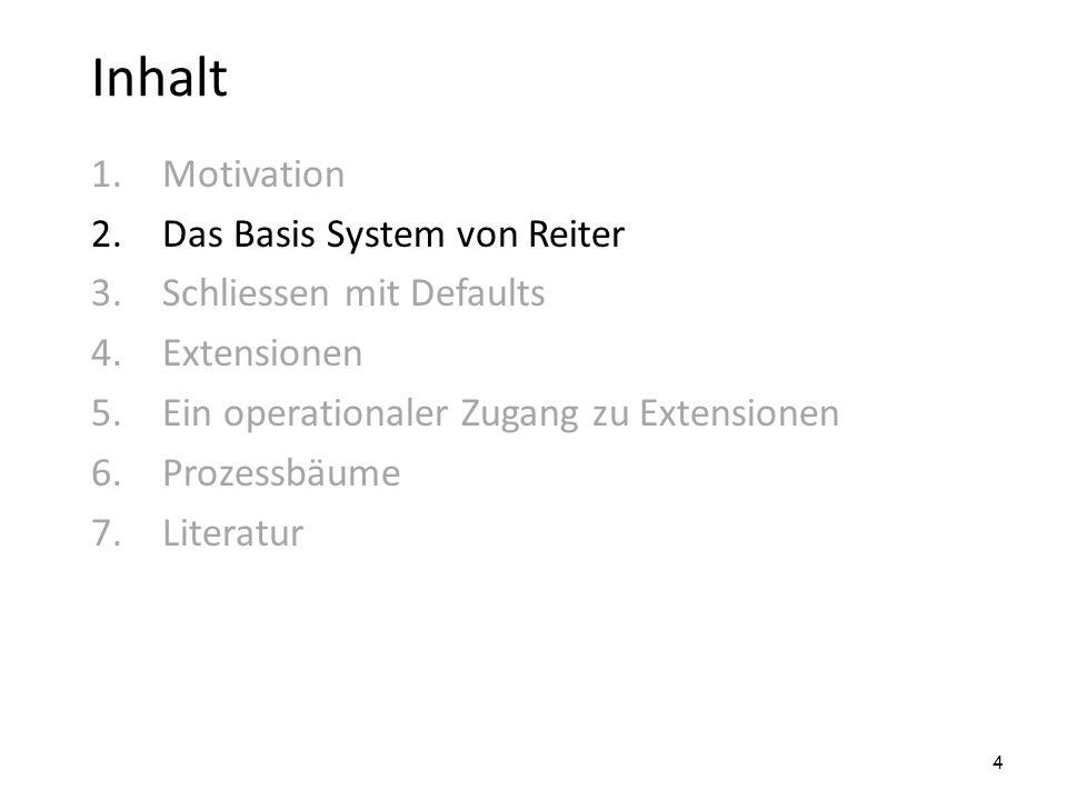 Inhalt 1.Motivation 2.Das Basis System von Reiter 3.Schliessen mit Defaults 4.Extensionen 5.Ein operationaler Zugang zu Extensionen 6.Prozessbäume 7.L