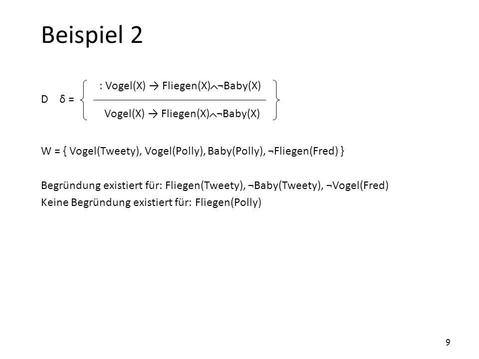 Beispiel 3 D δ = W = { Vogel(Pete), Vogel(Mary), Baby(Pete) Baby(Mary) } Begründung existiert für: Fliegen(Pete), Fliegen(Mary) Disjunktion ist nicht stark genug, um den Schluss zu blockieren.