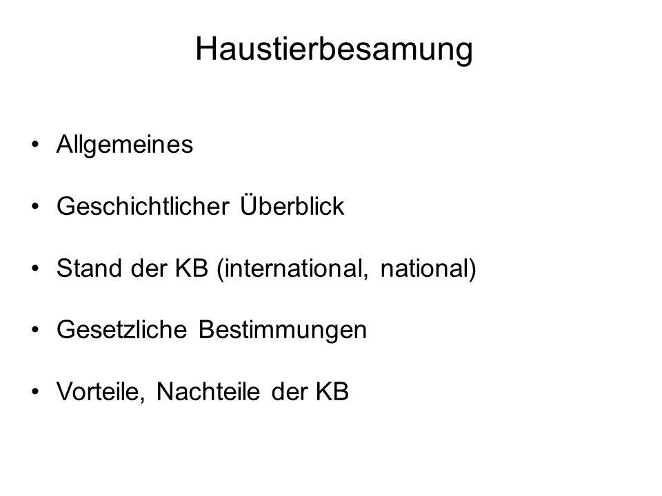 Haustierbesamung Allgemeines Geschichtlicher Überblick Stand der KB (international, national) Gesetzliche Bestimmungen Vorteile, Nachteile der KB