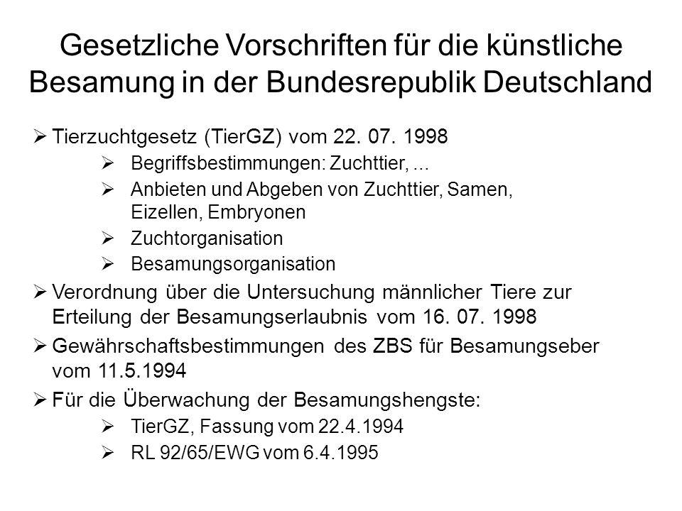 Gesetzliche Vorschriften für die künstliche Besamung in der Bundesrepublik Deutschland Tierzuchtgesetz (TierGZ) vom 22. 07. 1998 Begriffsbestimmungen: