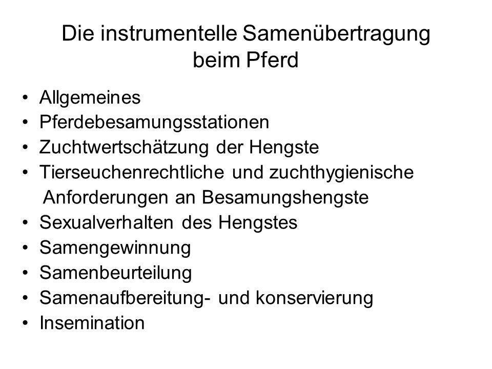 Insemination Zeitpunkt der Insemination : nach Brunstverhalten: Sie erfolgt ab dem 3.