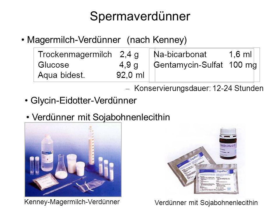 Spermaverdünner Magermilch-Verdünner (nach Kenney) Trockenmagermilch 2,4 g Glucose 4,9 g Aqua bidest. 92,0 ml Na-bicarbonat 1,6 ml Gentamycin-Sulfat 1