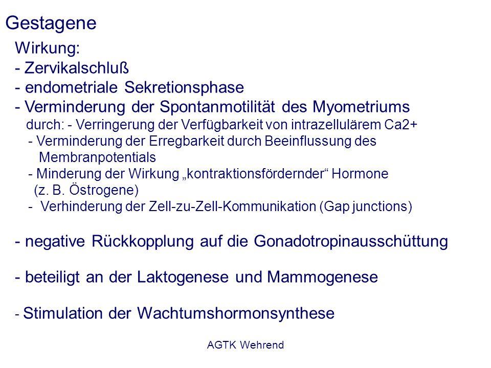 AGTK Wehrend Gestagene Wirkung: - Zervikalschluß - endometriale Sekretionsphase - Verminderung der Spontanmotilität des Myometriums durch: - Verringerung der Verfügbarkeit von intrazellulärem Ca2+ - Verminderung der Erregbarkeit durch Beeinflussung des Membranpotentials - Minderung der Wirkung kontraktionsfördernder Hormone (z.