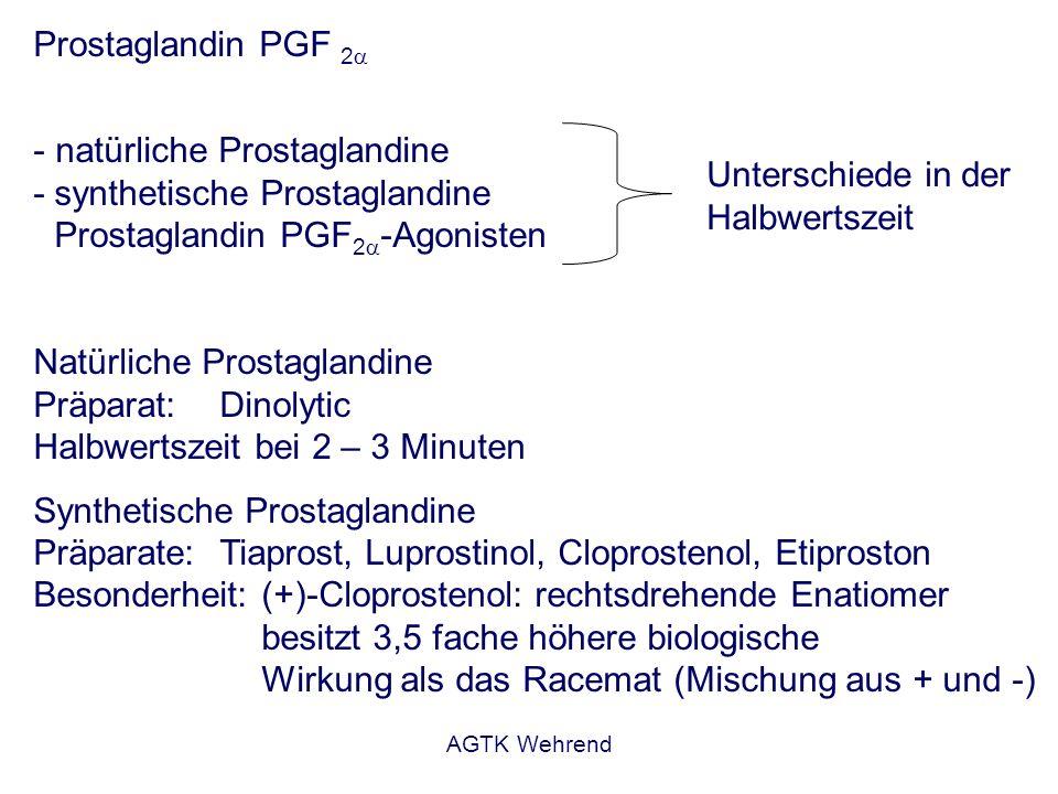 AGTK Wehrend Prostaglandin PGF 2 - natürliche Prostaglandine - synthetische Prostaglandine Prostaglandin PGF 2 -Agonisten Natürliche Prostaglandine Präparat: Dinolytic Halbwertszeit bei 2 – 3 Minuten Synthetische Prostaglandine Präparate: Tiaprost, Luprostinol, Cloprostenol, Etiproston Besonderheit: (+)-Cloprostenol: rechtsdrehende Enatiomer besitzt 3,5 fache höhere biologische Wirkung als das Racemat (Mischung aus + und -) Unterschiede in der Halbwertszeit