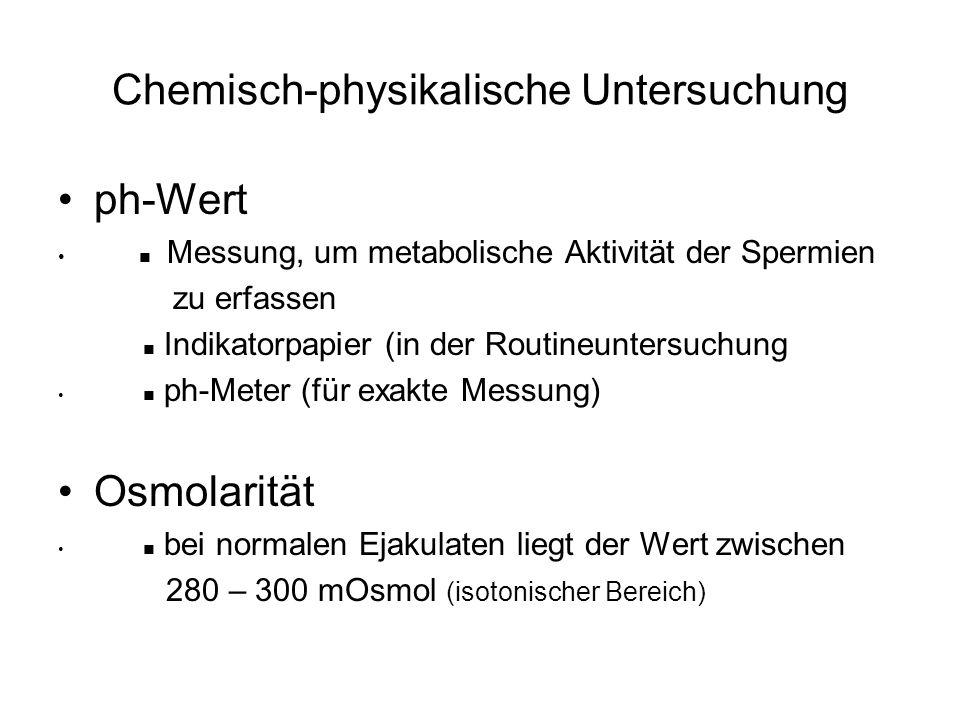 Chemisch-physikalische Untersuchung ph-Wert Messung, um metabolische Aktivität der Spermien zu erfassen Indikatorpapier (in der Routineuntersuchung ph
