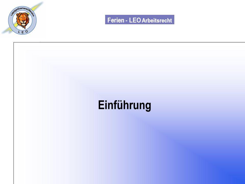 Ferien - LEO Arbeitsrecht Wiss. Mit. Till Sachadae Einführung