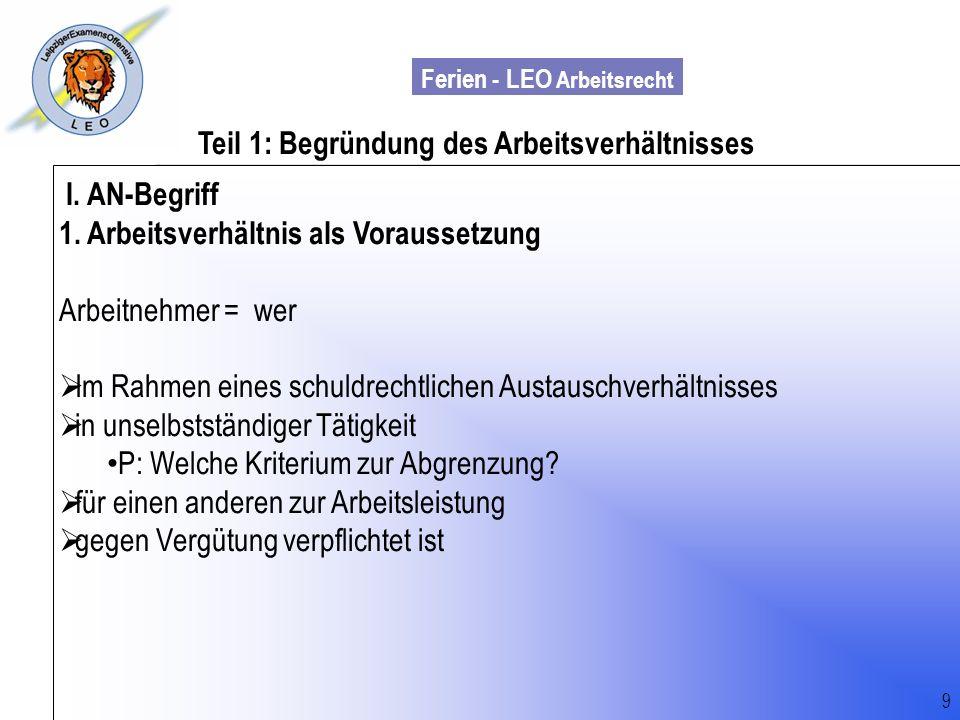 Ferien - LEO Arbeitsrecht Wiss. Mit. Till Sachadae Teil 1: Begründung des Arbeitsverhältnisses I. AN-Begriff 1. Arbeitsverhältnis als Voraussetzung Ar
