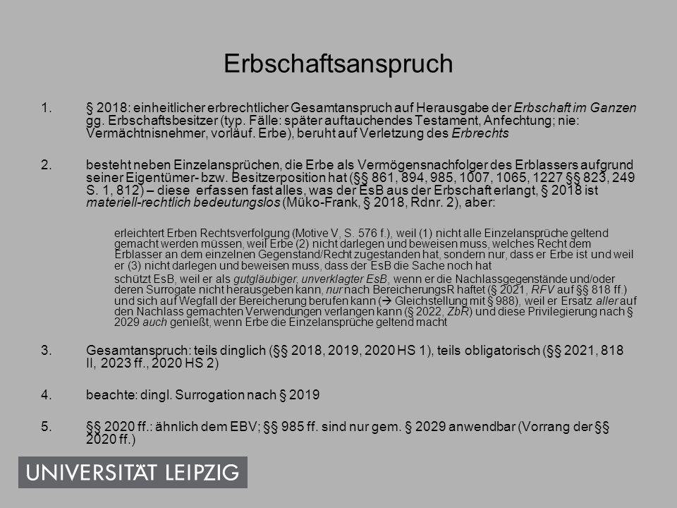 Einzelne VvTw (Inhalt) Erbfolgeregelungen: Erbeinsetzungen, § 1937 Vor- und Nacherbschaft, §§ 2110 ff.
