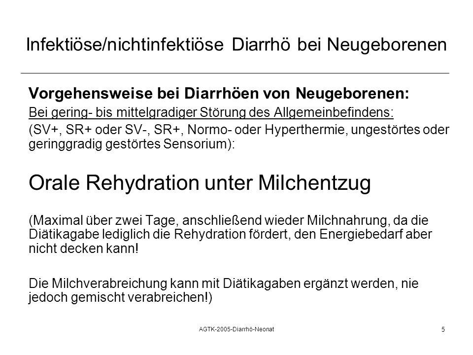 AGTK-2005-Diarrhö-Neonat 5 Infektiöse/nichtinfektiöse Diarrhö bei Neugeborenen Vorgehensweise bei Diarrhöen von Neugeborenen: Bei gering- bis mittelgr