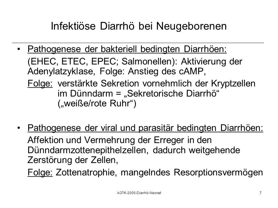 AGTK-2005-Diarrhö-Neonat 7 Infektiöse Diarrhö bei Neugeborenen Pathogenese der bakteriell bedingten Diarrhöen: (EHEC, ETEC, EPEC; Salmonellen): Aktivi