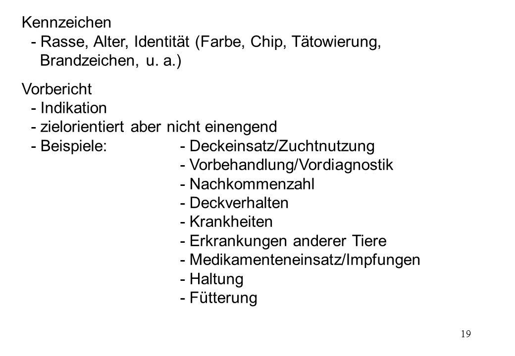 19 Kennzeichen - Rasse, Alter, Identität (Farbe, Chip, Tätowierung, Brandzeichen, u. a.) Vorbericht - Indikation - zielorientiert aber nicht einengend