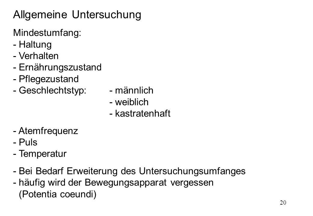 20 Allgemeine Untersuchung Mindestumfang: - Haltung - Verhalten - Ernährungszustand - Pflegezustand - Geschlechtstyp:- männlich - weiblich - kastraten