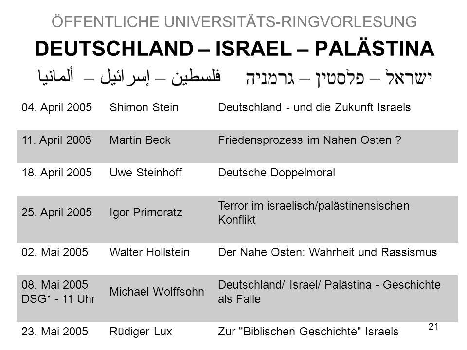 21 ÖFFENTLICHE UNIVERSITÄTS-RINGVORLESUNG DEUTSCHLAND – ISRAEL – PALÄSTINA 04.