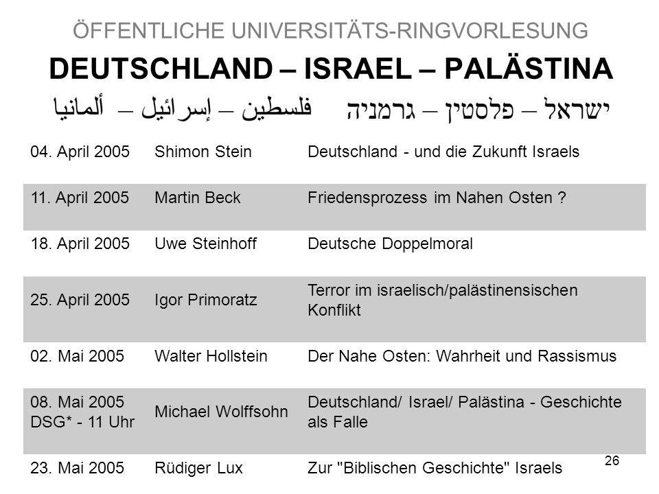 26 ÖFFENTLICHE UNIVERSITÄTS-RINGVORLESUNG DEUTSCHLAND – ISRAEL – PALÄSTINA 04.
