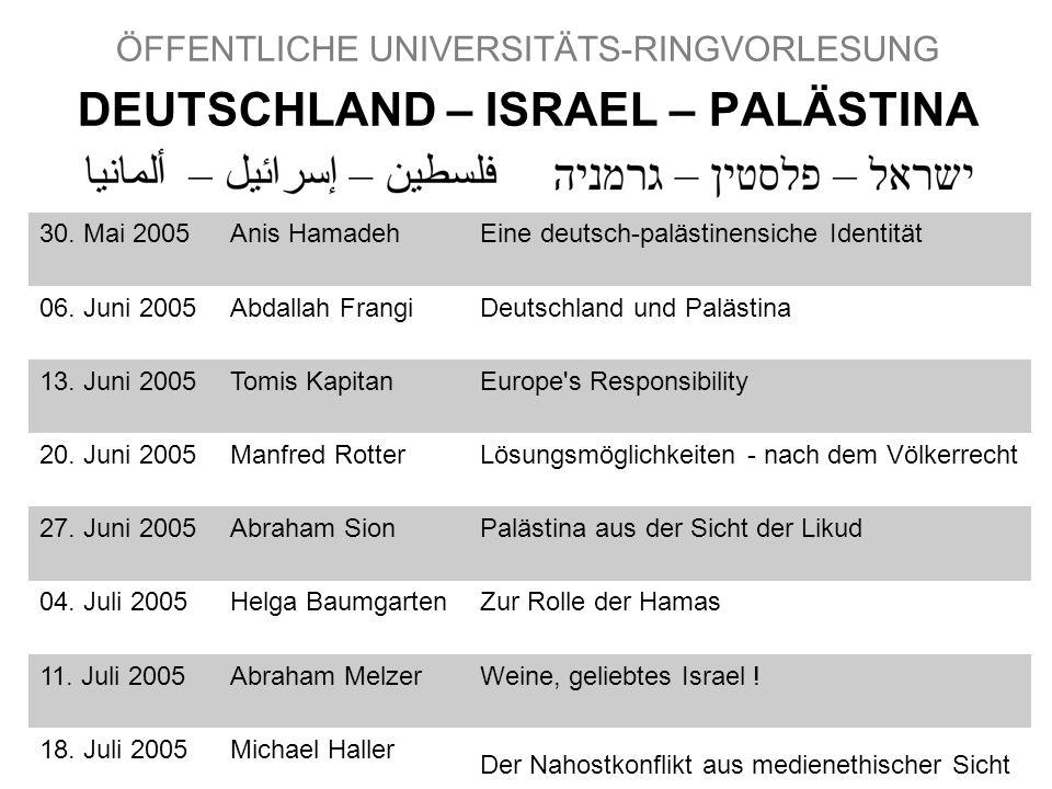 27 ÖFFENTLICHE UNIVERSITÄTS-RINGVORLESUNG DEUTSCHLAND – ISRAEL – PALÄSTINA 30.