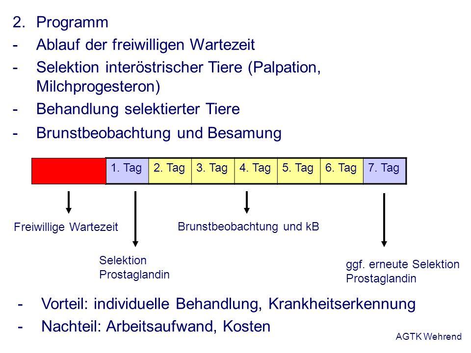 AGTK Wehrend 2.Programm -Ablauf der freiwilligen Wartezeit -Selektion interöstrischer Tiere (Palpation, Milchprogesteron) -Behandlung selektierter Tie