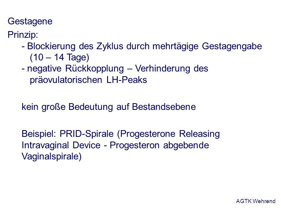 AGTK Wehrend Gestagene Prinzip: - Blockierung des Zyklus durch mehrtägige Gestagengabe (10 – 14 Tage) - negative Rückkopplung – Verhinderung des präov
