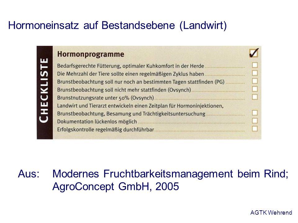 AGTK Wehrend Hormoneinsatz auf Bestandsebene (Landwirt) Aus: Modernes Fruchtbarkeitsmanagement beim Rind; AgroConcept GmbH, 2005