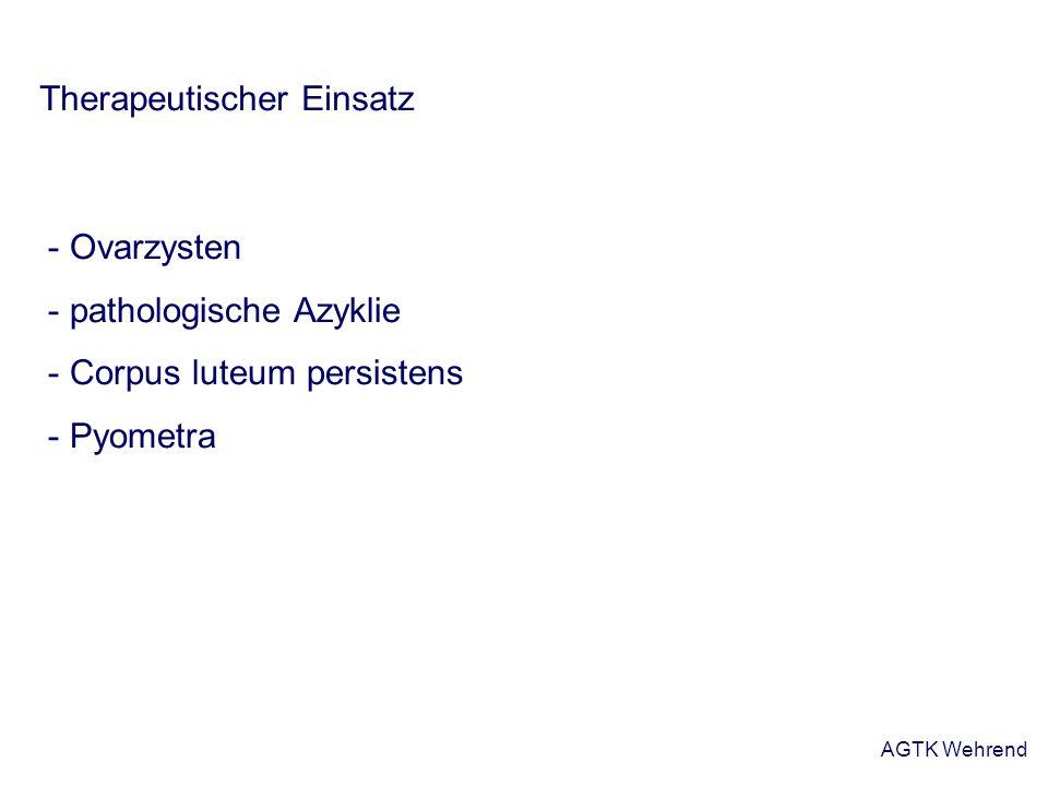 AGTK Wehrend Gestagene Prinzip: - Blockierung des Zyklus durch mehrtägige Gestagengabe (10 – 14 Tage) - negative Rückkopplung – Verhinderung des präovulatorischen LH-Peaks kein große Bedeutung auf Bestandsebene Beispiel: PRID-Spirale (Progesterone Releasing Intravaginal Device - Progesteron abgebende Vaginalspirale)