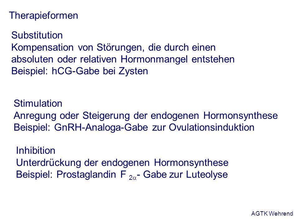 AGTK Wehrend Therapieformen Substitution Kompensation von Störungen, die durch einen absoluten oder relativen Hormonmangel entstehen Beispiel: hCG-Gab