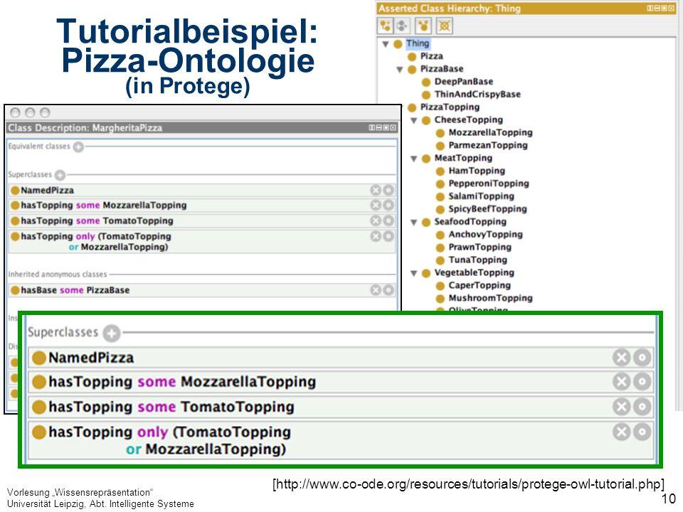 Vorlesung Wissensrepräsentation Universität Leipzig, Abt. Intelligente Systeme 10 Tutorialbeispiel: Pizza-Ontologie (in Protege) [http://www.co-ode.or