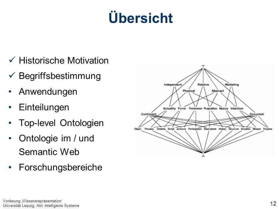 Vorlesung Wissensrepräsentation Universität Leipzig, Abt. Intelligente Systeme 12 Übersicht Historische Motivation Begriffsbestimmung Anwendungen Eint