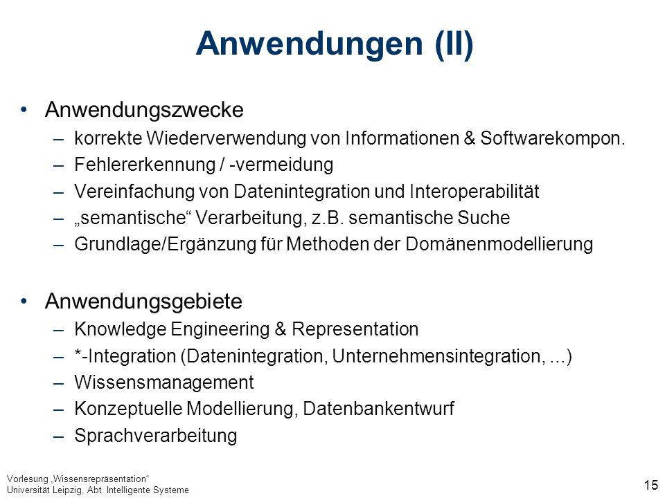 Vorlesung Wissensrepräsentation Universität Leipzig, Abt. Intelligente Systeme 15 Anwendungen (II) Anwendungszwecke –korrekte Wiederverwendung von Inf