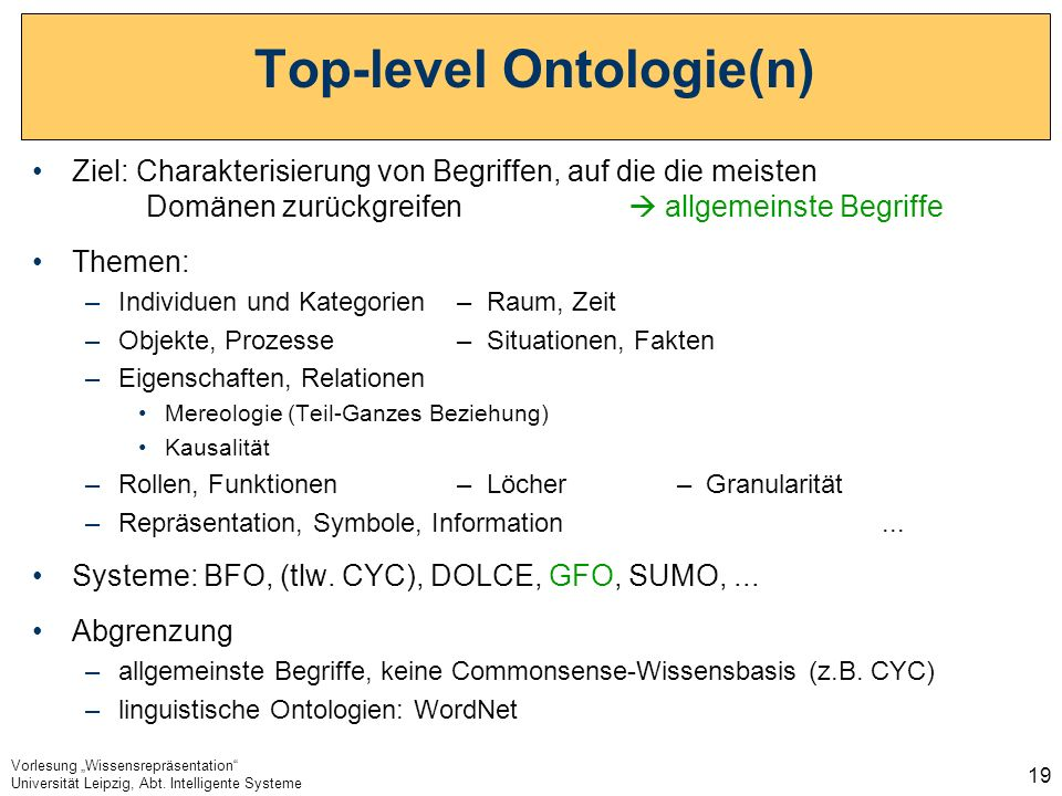 Vorlesung Wissensrepräsentation Universität Leipzig, Abt. Intelligente Systeme 19 Top-level Ontologie(n) Ziel: Charakterisierung von Begriffen, auf di