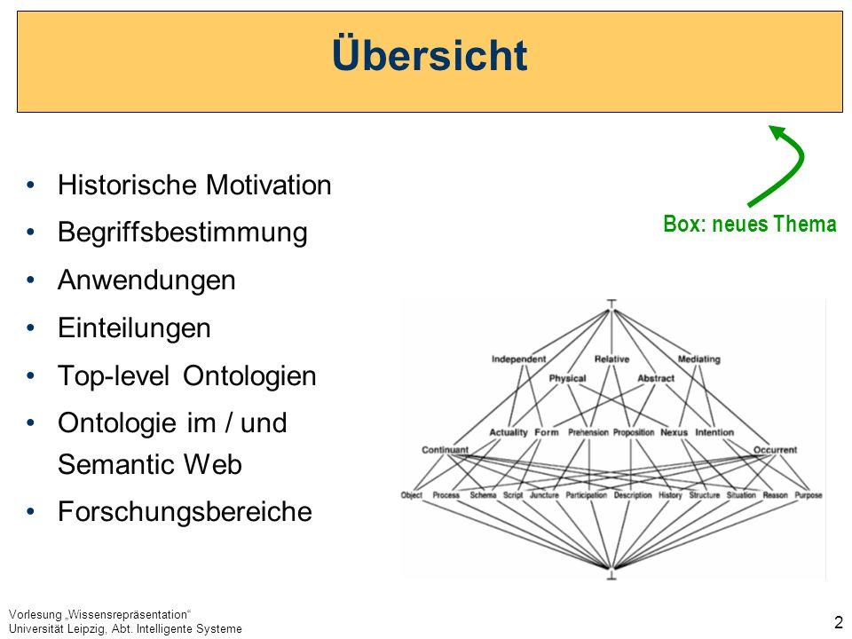 Vorlesung Wissensrepräsentation Universität Leipzig, Abt. Intelligente Systeme 2 Übersicht Historische Motivation Begriffsbestimmung Anwendungen Einte