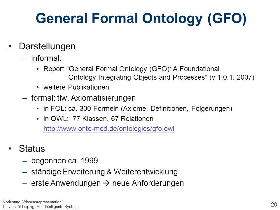 Vorlesung Wissensrepräsentation Universität Leipzig, Abt. Intelligente Systeme 20 General Formal Ontology (GFO) Darstellungen –informal: Report Genera