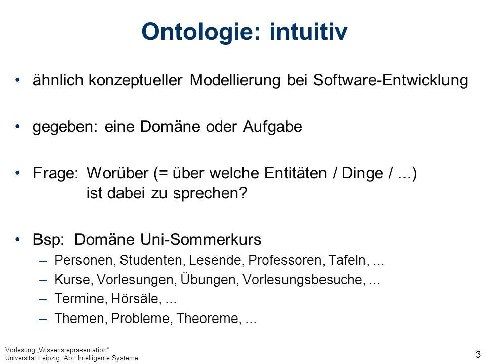 Vorlesung Wissensrepräsentation Universität Leipzig, Abt. Intelligente Systeme 3 Ontologie: intuitiv ähnlich konzeptueller Modellierung bei Software-E