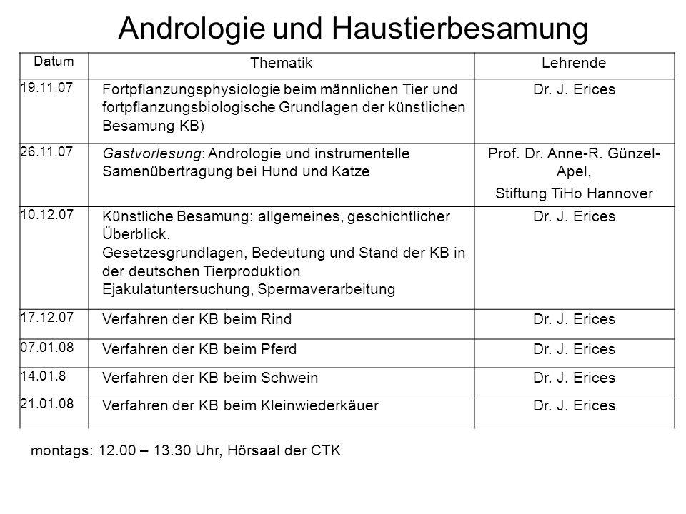 Datum ThematikLehrende 19.11.07 Fortpflanzungsphysiologie beim männlichen Tier und fortpflanzungsbiologische Grundlagen der künstlichen Besamung KB) D