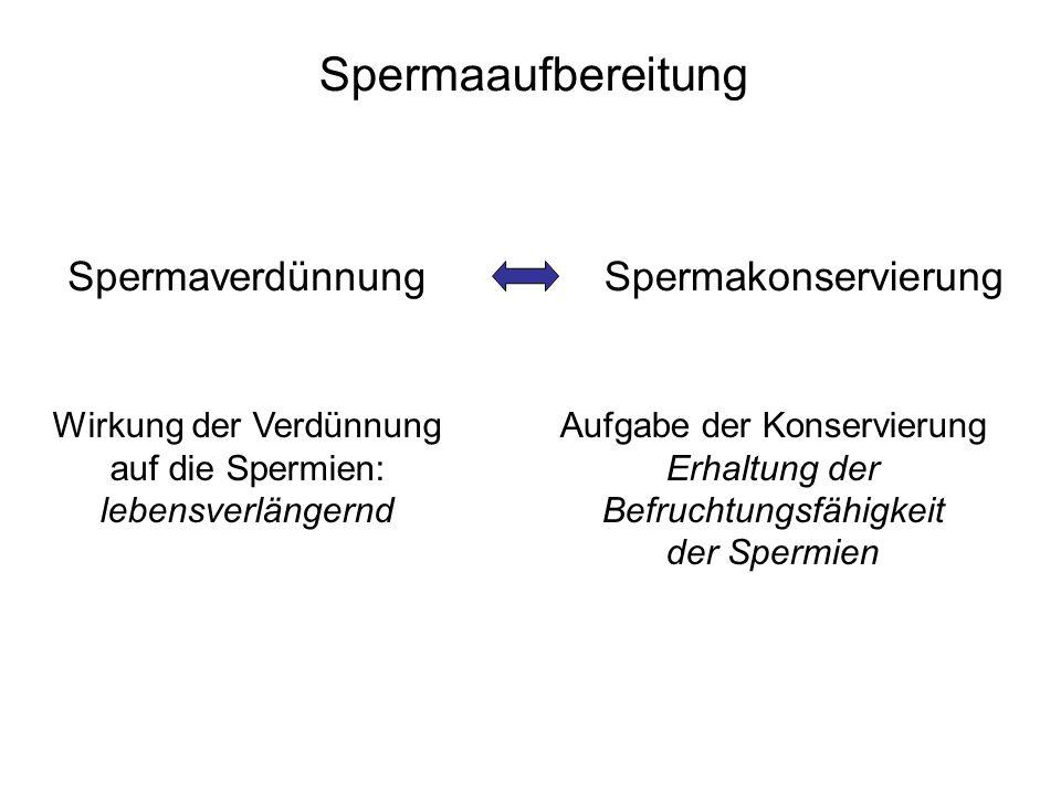 Spermaaufbereitung SpermaverdünnungSpermakonservierung Wirkung der Verdünnung auf die Spermien: lebensverlängernd Aufgabe der Konservierung Erhaltung der Befruchtungsfähigkeit der Spermien