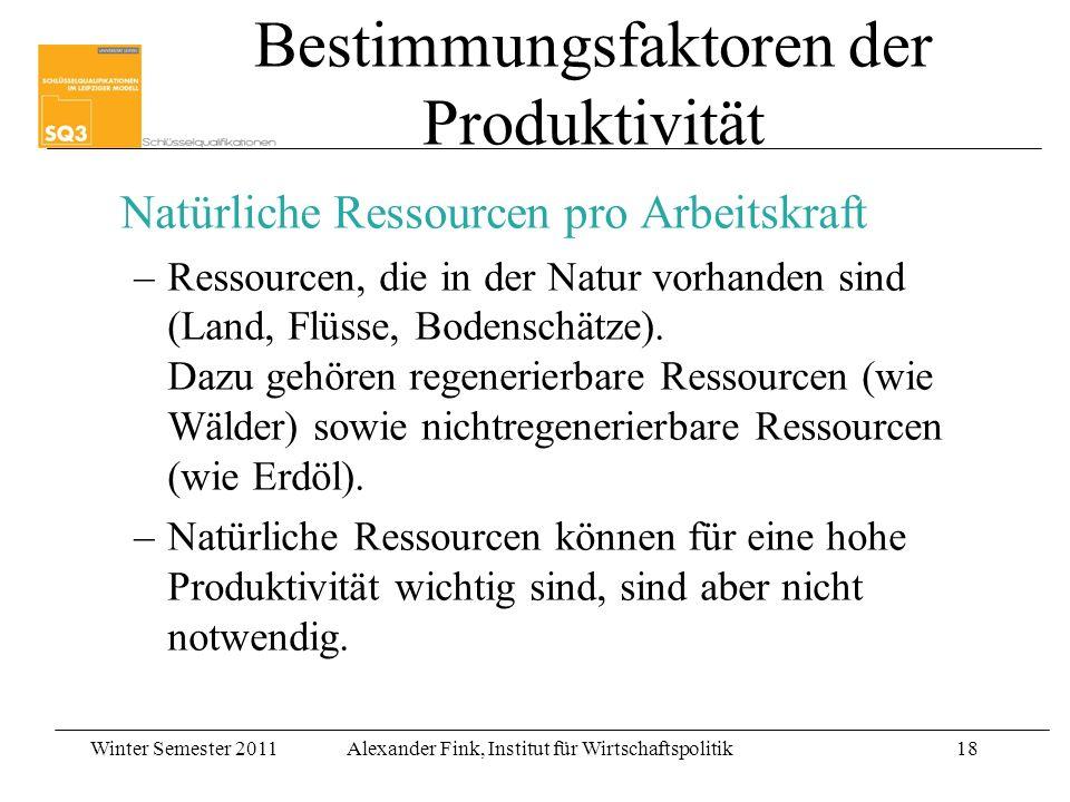 Winter Semester 2011Alexander Fink, Institut für Wirtschaftspolitik18 Bestimmungsfaktoren der Produktivität Natürliche Ressourcen pro Arbeitskraft –Re