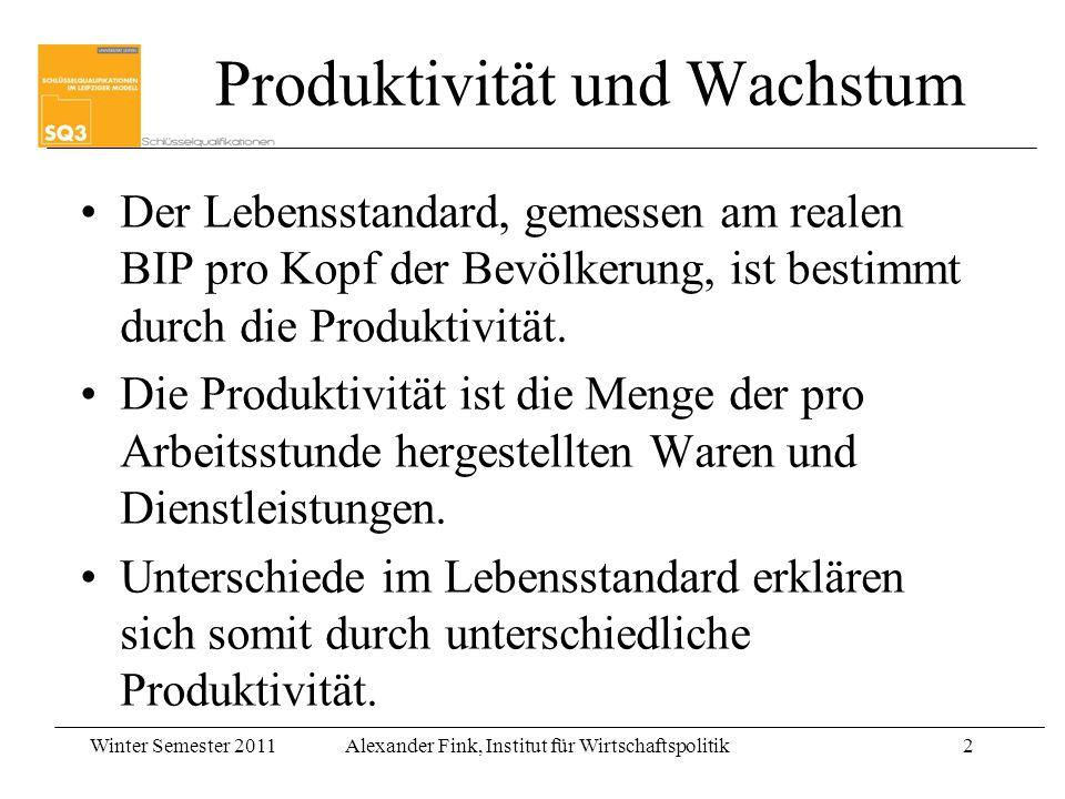 Winter Semester 2011Alexander Fink, Institut für Wirtschaftspolitik2 Der Lebensstandard, gemessen am realen BIP pro Kopf der Bevölkerung, ist bestimmt