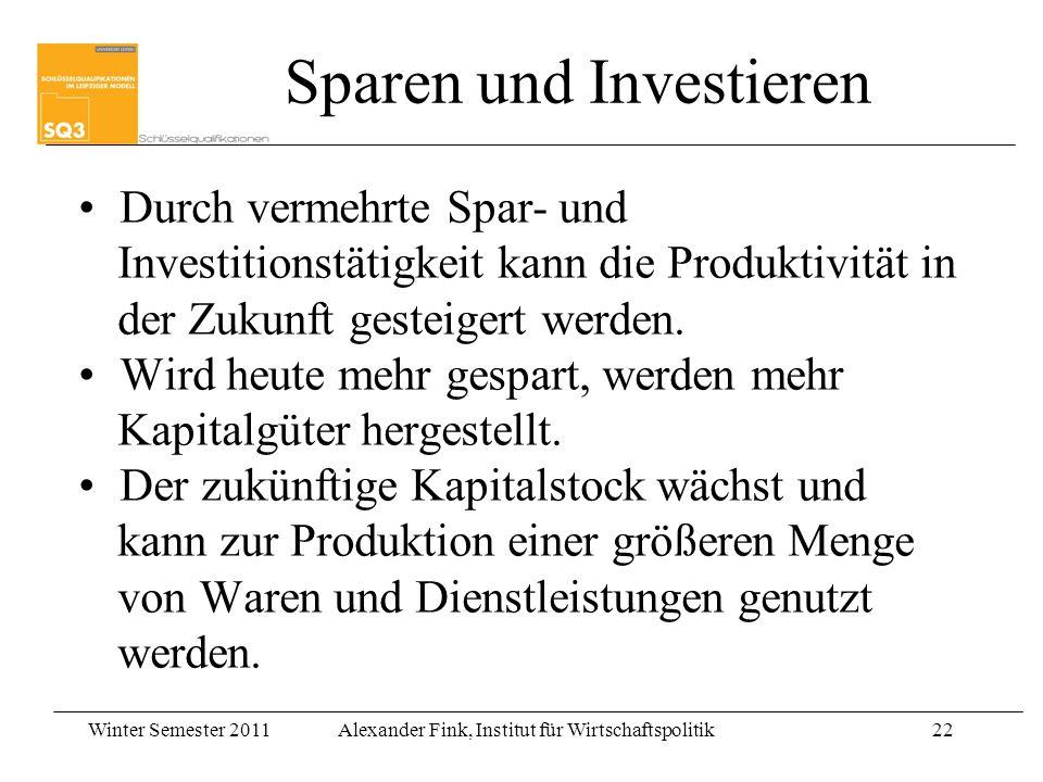Winter Semester 2011Alexander Fink, Institut für Wirtschaftspolitik22 Sparen und Investieren Durch vermehrte Spar- und Investitionstätigkeit kann die