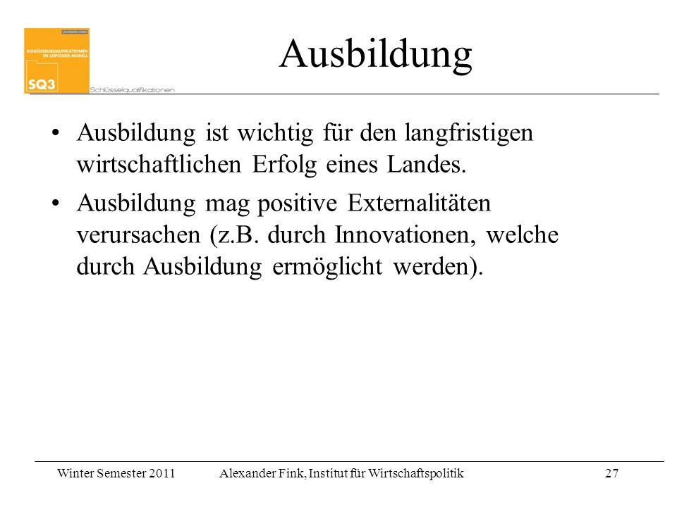 Winter Semester 2011Alexander Fink, Institut für Wirtschaftspolitik27 Ausbildung Ausbildung ist wichtig für den langfristigen wirtschaftlichen Erfolg