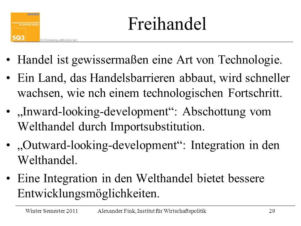 Winter Semester 2011Alexander Fink, Institut für Wirtschaftspolitik29 Freihandel Handel ist gewissermaßen eine Art von Technologie. Ein Land, das Hand