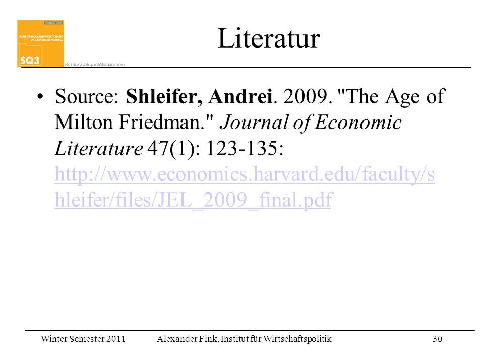 Winter Semester 2011Alexander Fink, Institut für Wirtschaftspolitik30 Literatur Source: Shleifer, Andrei. 2009.