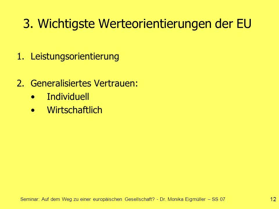 Seminar: Auf dem Weg zu einer europäischen Gesellschaft? - Dr. Monika Eigmüller – SS 07 12 3. Wichtigste Werteorientierungen der EU 1.Leistungsorienti