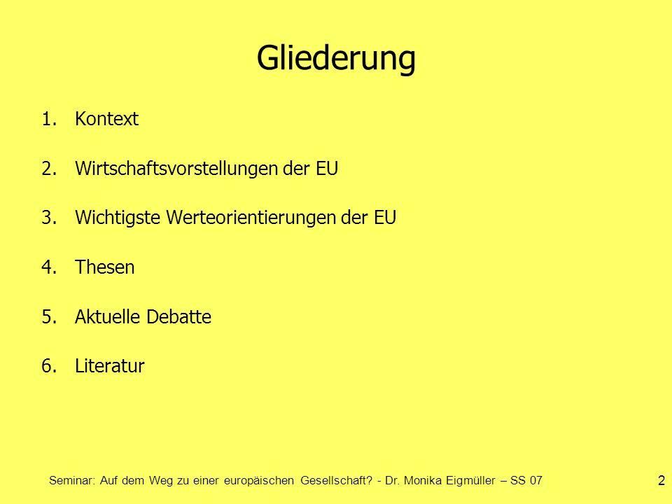 Seminar: Auf dem Weg zu einer europäischen Gesellschaft? - Dr. Monika Eigmüller – SS 07 2 Gliederung 1.Kontext 2.Wirtschaftsvorstellungen der EU 3.Wic
