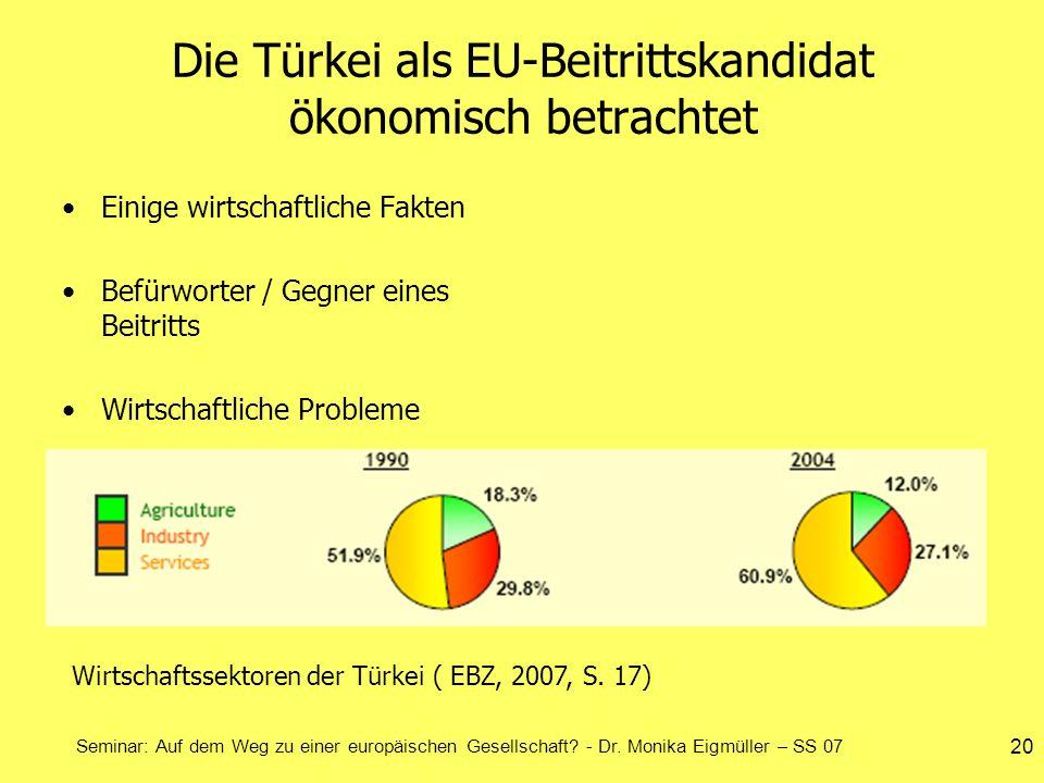 Seminar: Auf dem Weg zu einer europäischen Gesellschaft? - Dr. Monika Eigmüller – SS 07 20 Die Türkei als EU-Beitrittskandidat ökonomisch betrachtet E