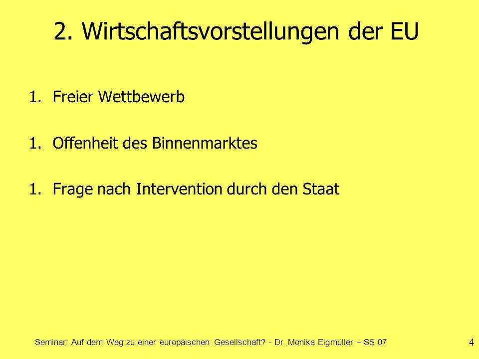 Seminar: Auf dem Weg zu einer europäischen Gesellschaft? - Dr. Monika Eigmüller – SS 07 4 2. Wirtschaftsvorstellungen der EU 1.Freier Wettbewerb 1.Off