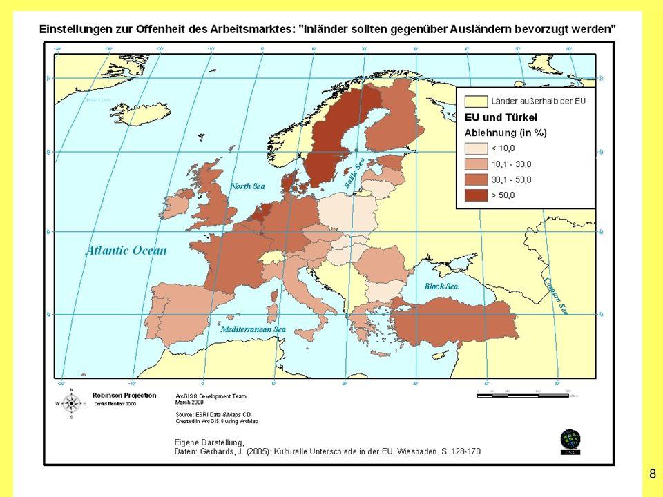 9 Fazit Durchschnittlich geringere Werte in den neuen Beitrittsländern ( Achtung.